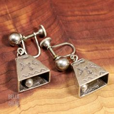 Sterling Silver - NAVAJO 3D Cow Bell (Rings!) 11g - Screw-Back Earrings NW5121