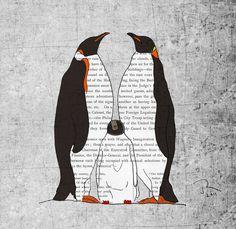 Penguin family art print, Baby penguin birthday poster art, Penguin wall nursery art, Nursery wall art print after original painting 12x16. $45.00, via Etsy.