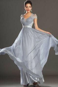 V Neck Floor Length Princess Silver Chiffon Military Ball Dress With Beading Cet0101