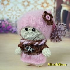 Crochet doll in pink - Toy Amigurumi doll art Miniature crochet Doll hand-made Christmas Ornament Toy cotton dolls in dress lovely knit doll