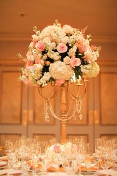 GORGEOUS centerpieces with pink roses and hydrangea in gold candleholders Photography by jenhuangphotography.com, Flowers by designbysamdavis.com/