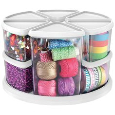 Deflecto Rotating Carousel Organizer, Nine Canisters, Three and Six Great for keeping crafting supplies organized. This clear storage organizer will work for any home or office, can personalize to fit your needs Fun Arts And Crafts, Easy Crafts, Crafts For Kids, Craft Kids, Craft Organization, Craft Storage, Storage Ideas, Marker Storage, Organizing Ideas
