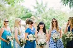 Blue mixed bridesmaid dresses