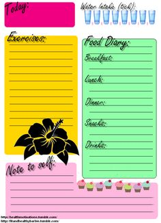 Printable for food journal. Keeping a food journal is a very effective tool for gaining a knowledge of what are actually eating in a day, and keeping you accountable to something (or someone, if you are sharing it) for keeping a healthy food care health