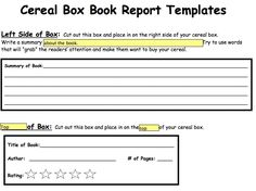 English Report About A Book Cereal Box Book Report. Book Report Forms  College Graduate Sample ...
