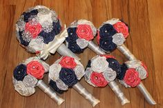 Navy Blue, Coral, Silver, & Ivory Brooch Bouquet Set, Navy Blue Wedding Bouquet…