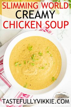 A delicious and creamy Slimming World chicken soup that's so easy to make in the soup maker, pan or slow cooker. AND it's Syn Free :D