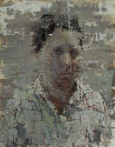 "Ann Gale, ""Portrait with Grid"" (2014), oil on masonite (all images courtesy Steven Harvey Fine Art Projects)"