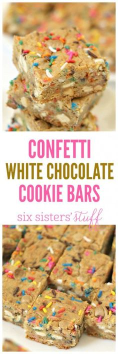Confetti White Chocolate Cookie Bars from SixSistersStuff.com | Sprinkles and white chocolate mixed together in a soft and chewy bar cookie? It's a delicious combo and delicious dessert or snack!