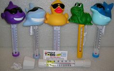 A great way to monitor the water temperature in your spa or hot tub. Available in tons of fun animal shapes including duck, shark, frog, dolphin.