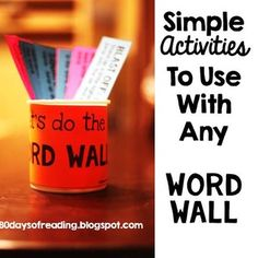 Word Wall Activities... Word Work