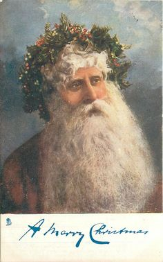 A MERRY CHRISTMAS head  & shoulders of deep red robed Santa with large beard