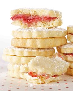 Lemon-Raspberry Sandwiches | Martha Stewart Living - Impress guests with mouthwatering lemon cookie sandwiches filled with raspberry jam.