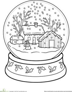 Winter First Grade Holiday Worksheets: Snow Globe Coloring Page: