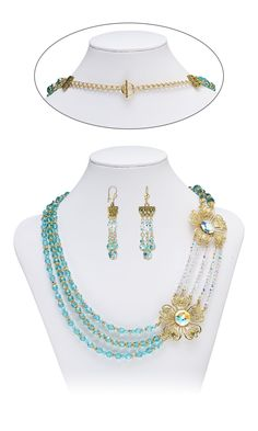Jewelry Design - Multi-Strand Necklace and Earring Set with Swarovski Crystal, Gold-Plated Steel Focals and Gold-Plated Brass Beads - Fire Mountain Gems and Beads