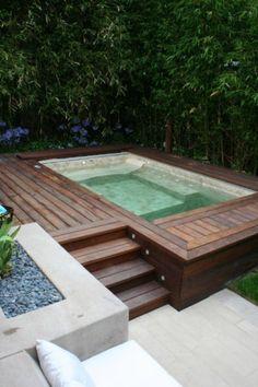 teak lined hot tub