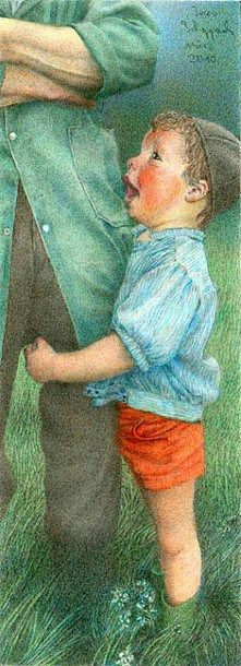 """""""Trust"""" -- by Ines Scheppach German) Beautiful Art Pictures, Beautiful Artwork, Pretty Pictures, Painting For Kids, Art For Kids, Painting Art, Daddy Day, Different Kinds Of Art, Fathers Love"""