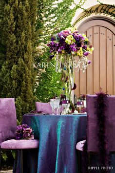 Peacock and purple wedding
