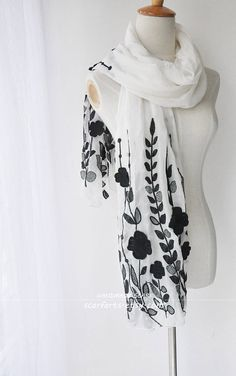 White Silk Shawl Scarf With Black Embroidery On Both by scarfarts Silk Shawl, Painted Silk, White Silk, Silk Painting, Scarfs, Alexander Mcqueen Scarf, Embroidery, Projects, Jackets