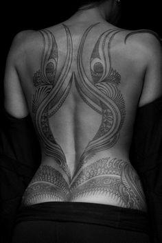 full back tribal tattoo designs for women