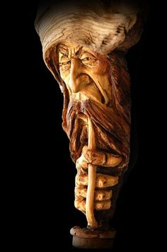 Wood Tree Spirit, Carving, Wizard, Gnome, Folk Art, Smoking Pipe