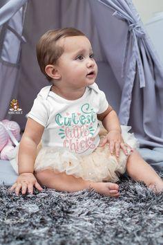 Cutest Little Chick - Baby Girl Onesie® / Toddler Shirt - Cute Baby Girl Easter Onesie® - Animal Theme Onesie® - Easter Photo Shirt