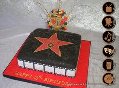 Join the celebrity line up with this Hollywood walk of Fame cake.  It features the classic marbled star complete with your name and an icon from any field of entertainment. The sides follow the theme and it's finished with a wired star and age topper