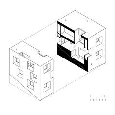 Pezo von Ellrichshausen - Poli House, section axo