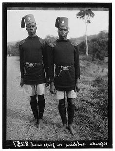 Uganda. Kampala. Two soldiers on Jinja Road, closer up. 1936.
