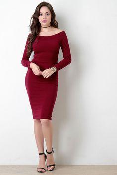 Banded Off-The-Shoulder Long Sleeve Jersey Dress