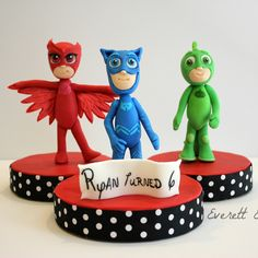 PJ Mask Fondant characters You can order 1 or the whole… Pj Party, Mask Party, Pj Masks Cake Topper, Sculpted Cakes, Edible Cake Toppers, Fondant Figures, Cake Decorating Tutorials, Edible Art, Cupcakes