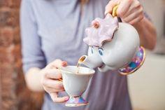 beauty & the beast teapot an cup