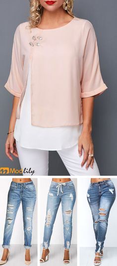 Spring is coming. Tops and Jeans are time to shop. Modlily gives you better choice. Trendy Tops For Women, Cute Blouses, Fashion Outfits, Womens Fashion, Jeans, Cute Outfits, Textiles, My Style, How To Wear