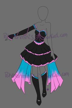 i would switch the pink to purple Drawing Anime Clothes, Dress Drawing, Clothing Sketches, Dress Sketches, Fashion Design Drawings, Fashion Sketches, Drawing Fashion, Komplette Outfits, Anime Outfits