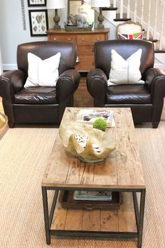chocolate leather, sisal rug, reclaimed wood coffee table ... LOVE