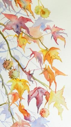 watercolor demonstrating atmospheric perspective in of branches in greyed tones; painting by Cristina Dalla Watercolor Leaves, Watercolor And Ink, Watercolor Illustration, Watercolour Painting, Painting & Drawing, Watercolours, Arte Floral, Vintage Diy, Leaf Art