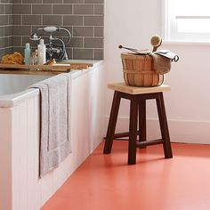 Bathroom with versatile orange vinyl floor | Family bathroom design ideas | Bathroom | PHOTO GALLERY | Homes and Gardens | Housetohome.co.uk