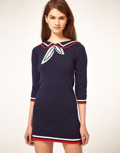 Asos collection Knitted Dress with Sailor Collar in Blue ...