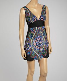 Love this Black & Blue Paisley V-Neck Tunic by Avatar Imports on #zulily! #zulilyfinds