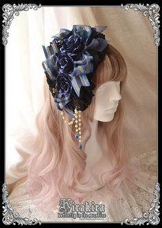 Gorgeous! Comes in 3 colors: navy (shown), red, or black. KIRAKIRA black lace headdress.
