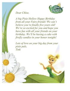 birthday litters from tinker bell | ... for the birthday child to receive a birthday wish from tinkerbell