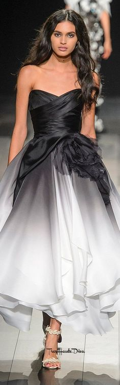 #Marchesa Spring 2018 RTW #NYFW #NYFWss18 cocktail dress black & white ombre