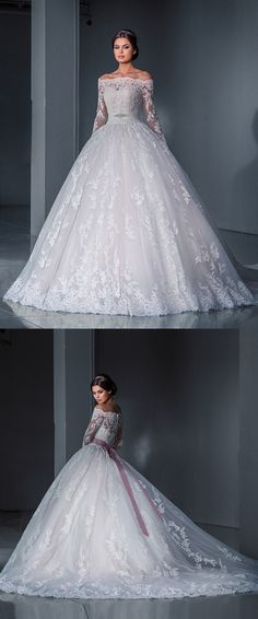 Robe De Mariee Sexy Ball Gown Vintage Long Sleeve Lace Wedding Dresses Bridal Gown Princess Wedding Dress 2016 Vestidos De Novia