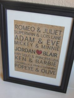 Famous Couples Valentines Burlap Print...custom personalization with couple's name. $20.00, via Etsy.