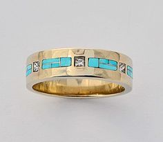 Mens or Ladies Gold Diamond and Turquoise Wedding Band