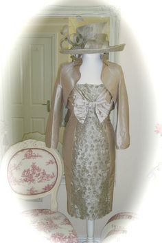 NWT Presen Dress/Jkt, 14, Oyster & G/Snoxell Hat, Weddings Races Ladies Formal