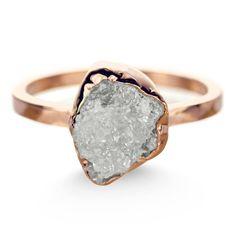 3.8 Carat Uncut Diamond 14k Rose Gold Ring by PointNoPointStudio