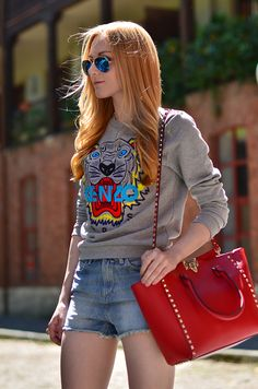 red pop + graphic sweater