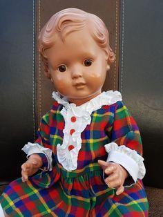 Uralte große Schildkröt Celluloid Puppe Erika 49 cm - braune Glasaugen - TOP
