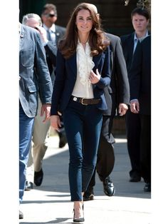 I never would have thought to put a ruffled blouse with skinny jeans and a blazer, but love the look!